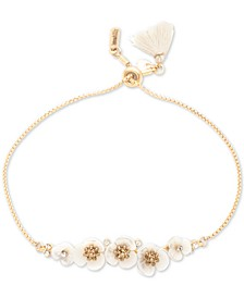 Gold-Tone Crystal & Imitation Mother-of-Pearl Flower Slider Bracelet