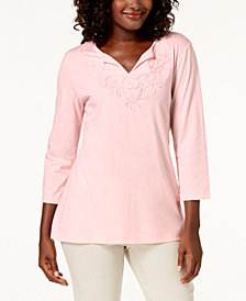 Karen Scott 3/4-Sleeve Soutache Top, Created for Macy's