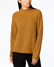 Eileen Fisher Organic Cotton Metallic Mock-Neck Sweater