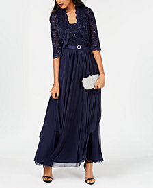 R&M Richards Sequined Lace Belted Gown and Jacket