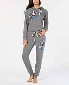 I.N.C. Embroidered Hoodie & Jogger Pajama Pants Sleep Separates, Created for Macy's