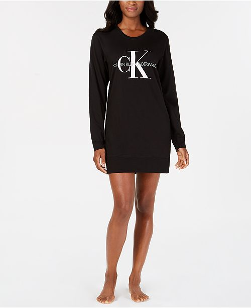 4f11d40e69 Calvin Klein Women s Monogram Lounge Long-Sleeve Nightshirt QS6152