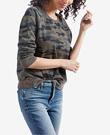 Lucky Brand Cotton Camouflage-Print Top, Created for Macy's