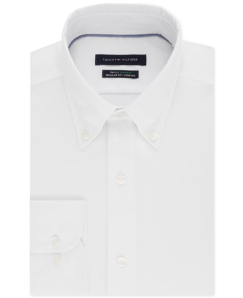 Tommy Hilfiger Men's Classic/Regular Fit TH Flex Non-Iron Supima Stretch Solid Dress Shirt