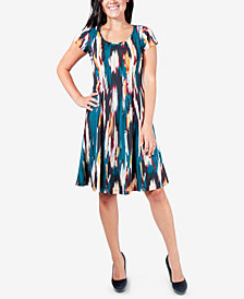 NY Collection Printed Pleated Dress