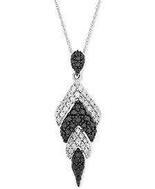 "Wrapped in Love™ Diamond Feather 18"" Pendant Necklace (1 ct. t.w.) in 14k White Gold, Created for Macy's"