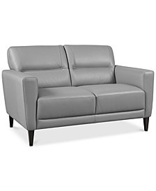 "Tosella 55"" Leather Loveseat, Created for Macy's"