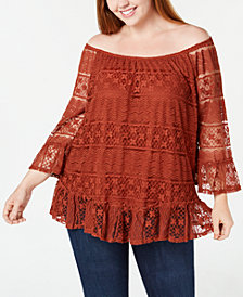 Style & Co Plus Size Off-The-Shoulder Lace Flounce Top, Created for Macy's