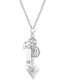 "Lucky Brand Silver-Tone Crystal, Stone & Imitation Pearl Evil Eye Multi-Charm Pendant Necklace, 22"" + 2"" extender, Created for Macy's"