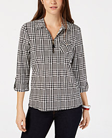 Tommy Hilfiger Houndstooth Check Quarter-Zip Top, Created for Macy's