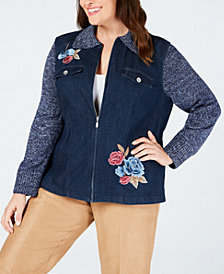 Alfred Dunner Plus Size News Flash Embroidered Jacket