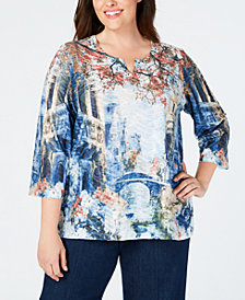 Alfred Dunner Plus Size News Flash Scenic-Print Embellished Top