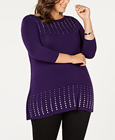 Belldini Plus Size Rhinestone Top