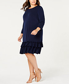 ECI Plus Size Ruffle-Hem Drop-Waist Dress