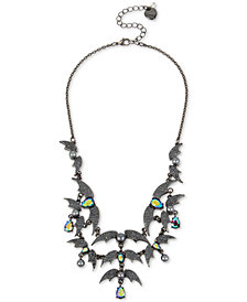 "Betsey Johnson Hematite-Tone Crystal & Bead Bat Statement Necklace, 16"" + 3"" extender"