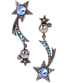 Betsey Johnson Hematite-Tone Crystal & Bead Shooting Star Mismatch Drop Earrings