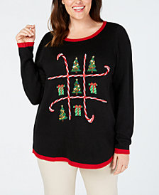Karen Scott Plus Size Holiday Tic-Tac-Toe Sweater, Created for Macy's