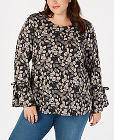 Style & Co Plus Size Floral-Print Lantern Sleeve Top, Created for Macy's