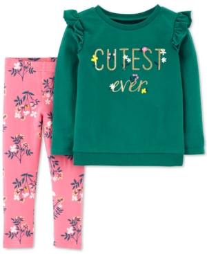 Carters Baby Girls 2Pc Cutest Ever Top  Printed Leggings Set