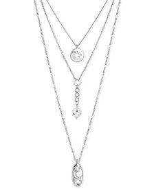 "Lucky Brand Silver-Tone Crystal & Imitation Pearl Celestial 18"" Triple-Row Necklace, Created for Macy's"