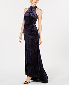 Calvin Klein Velvet Embellished Gown
