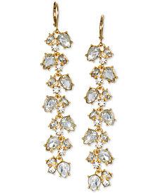 Jewel Badgley Mischka Crystal Leaf Linear Drop Earrings