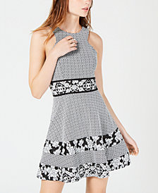 Teeze Me Juniors' Textured Fit & Flare Dress