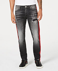 Jack & Jones Men's Glenn Slim-Straight Fit Side Stripe Ripped Jeans