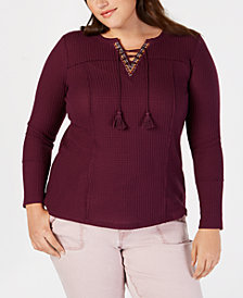 Style & Co Plus Size Lace-Up Thermal Top, Created for Macy's