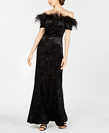 Calvin Klein Velvet Feather-Trim Gown