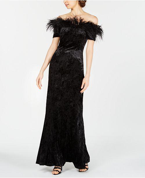 3718eb45ee0 Calvin Klein Velvet Feather-Trim Gown   Reviews - Dresses - Women ...