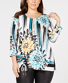 JM Collection Plus Size Printed Ruched Top, Created for Macy's