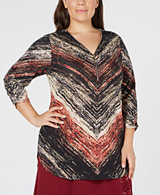 JM Collection Plus Size Printed Zip-Neck Top, Created for Macy's