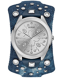 GUESS Women's Blue Leather Cuff Strap Watch 44.5mm