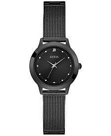 GUESS Women's Diamond-Accent Black Stainless Steel Mesh Bracelet Watch 30mm, Created for Macy's