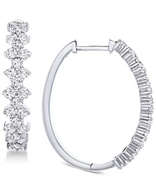 Honeycomb Diamond Hoop Earrings (1-1/2 ct. t.w.) in 14k White Gold, Created for Macy's