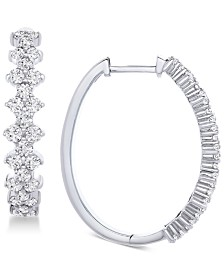 Wrapped in Love™ Honeycomb Diamond Hoop Earrings (1-1/2 ct. t.w.) in 14k White Gold, Created for Macy's