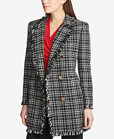 DKNY Plaid Fringe-Trim Topper Jacket, Created for Macy's