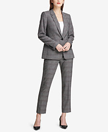 DKNY Plaid Blazer & Skinny Pants, Created for Macy's