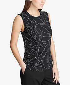 DKNY Sleeveless Side-Ruched Shell, Created for Macy's