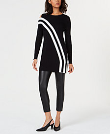Bar III Asymmetric Striped Tunic Top, Created for Macy's
