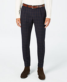 Tallia Men's Slim-Fit Navy/Brown Windowpane Cropped Wool Suit Pants