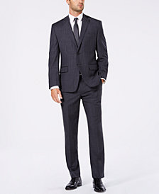 Michael Kors Men's Classic/Regular Fit Natural Stretch Charcoal/Blue Pinstripe Wool Suit