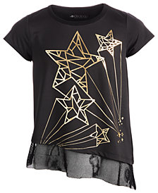 Ideology Big Girls Plus Celestial Star-Print Layered-Look T-Shirt, Created for Macy's