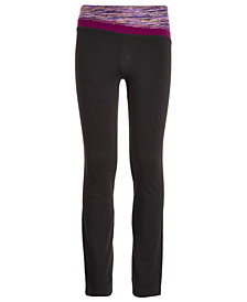 Ideology Big Girls Plus Space-Dyed-Waist Yoga Pants, Created for Macy's