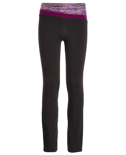 Ideology Big Girls Plus-Size Space-Dyed-Waist Yoga Pants, Created for Macy's