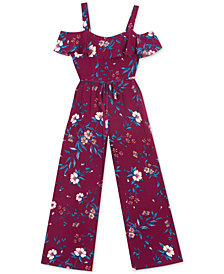 Rare Editions Big Girls Floral-Print Jumpsuit