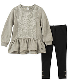 Calvin Klein Little Girls 2-Pc. Peplum Tunic & Leggings Set
