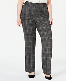Charter Club Plus Size Plaid Trousers, Created for Macy's