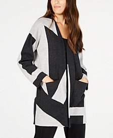 Eileen Fisher Printed Wool Open-Front Cardigan